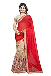 Pramukh saris Womens Net Thread Work Sari(Red)