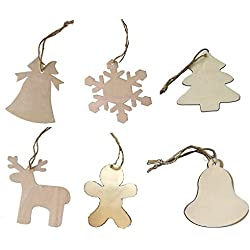 Premium Décor Wooden Cutout Christmas Ornaments with Jute Hangers, Gift Tags, Craft Embellishment and Decorated, 50 Piece