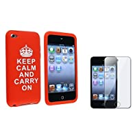 "eForCity Red with ""Keep Calm And Carry On""Quote Silicone Skin Case with FREE Reusable Screen Protector Compatible with Apple® iPod touch® 4th Generation from eForCity"