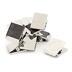 12 Pcs Silver Tone Spring Loaded Memo Ticket Magnetic Fridge Wall Clip