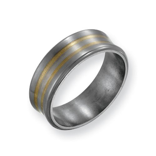Titanium 14k Gold Inlay 8mm Satin and Polished Comfort Fit Wedding Band Ring (SIZE 10 )