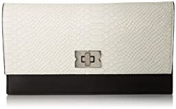 BCBG Penelope Blocked Clutch,White/Black,One Size