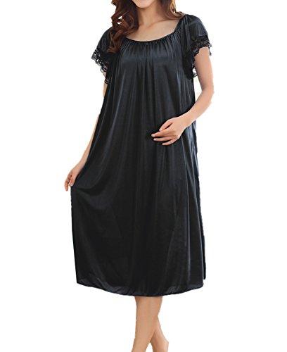 CHANCEN Women's Short Sleeve Lace Trim Satin Silky Long Nightgown Sleepwear Dress (Black)