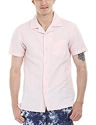Zobello Men's Solid Camp Linen Shirt(11088J_Light Rose Pink_Large)