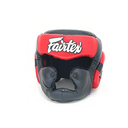 Fairtex Headgear Head Guard Super Sparring HG3, HG10, HG13 Diagonal Vision for Muay Thai, Boxing, Kickboxing (HG13 Black/Red,XL)