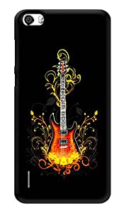 """Humor Gang Guitar On Fire - Music Printed Designer Mobile Back Cover For """"Huawei Honor 6"""" (3D, Glossy, Premium Quality Snap On Case)"""