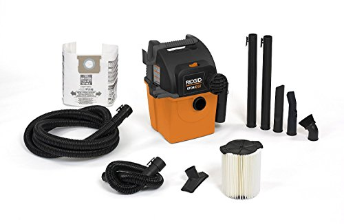 RIDGID Wet Dry Vacs VAC5000 Portable Wall Mount Wet Dry Vacuum Cleaner for Shop or Garage, 5-Gallon, 5.0 Peak Horsepower, Small Shop Vacuum Cleaner for Garage or Home (Rigid Portable Vacuum compare prices)
