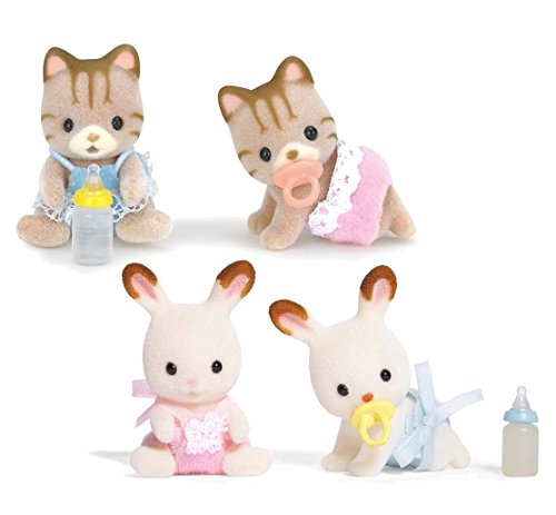 Calico Critters Sandy Cat Baby Twins and Hopscotch Rabbit Baby Twins