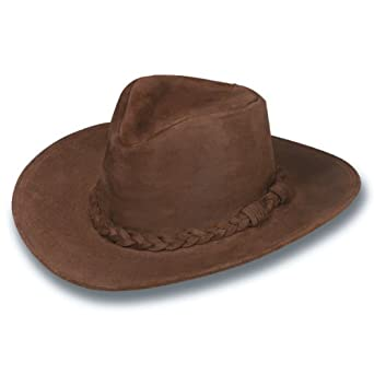 Minnetonka Men's Leather Outback Hat at Amazon Men's Clothing store