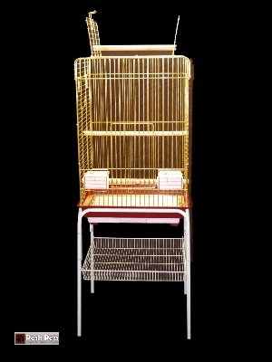 Cheap Zenda Stand Huge Gold Zenda Open Top Bird Cage With Stand (White Stand) (830G)