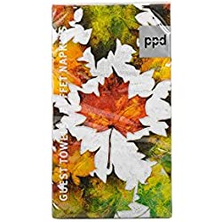 "Paperproducts Design Luxury Guest/Hand Towels (Set of 15), 5"" x 7"", Multicolor, Woodland Leaves"