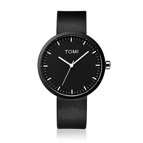 Tomi Watch 001 Quarzo Analogico Acciaio Inossidabile IP Nero Bianco Pelle Unisex Orologio Design