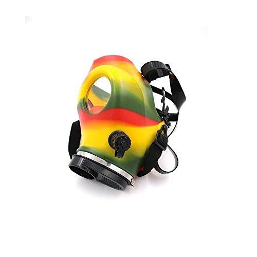 Multicolor-Skull-Design-Gas-Mask-Tobacco-Hookah-Shisha-Pipe-and-Blue-17-inch-Length-Premium-Acrylic-Straight-Hose-Pipe-White