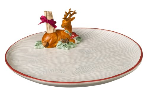 Grasslands Road Winter Wilderness Appetizer Plate with Toothpick Holder, 10-Inch