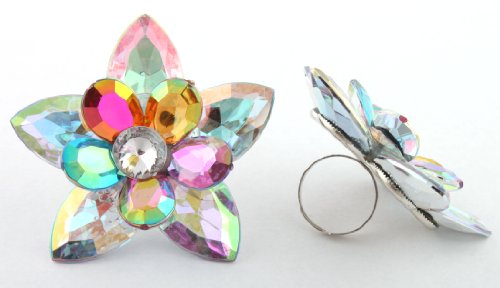 Ladies Silver with Clear AB Multicolored Double Layered Flower and Pointed Leaves Metal Adjustable Finger Ring