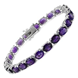 Sterling Silver 24.5 CTW Amethyst Tennis Ladies Bracelet. Length 7.5 in. Total Item weight 17.0 g.