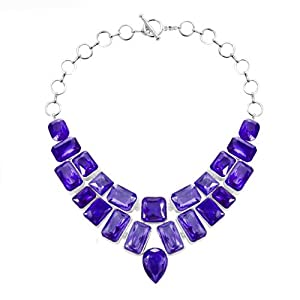 Pugster Chunky Bubble Amethyst Purple Bib Statement Water Drop Necklace Fashion Jewelry For Women
