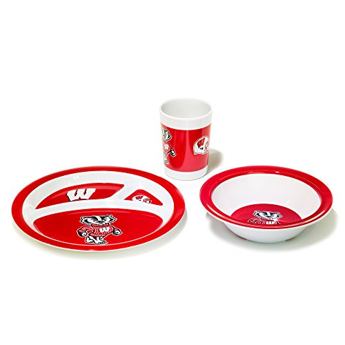 NCAA Wisconsin Badgers Kid's Dish Set (3-Piece), One Size, Team Color