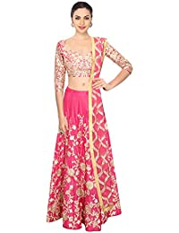 Designer Bollywood Style Pink Art Silk Embroidery Work Semi-Stitched Bridal Lahenga Choli