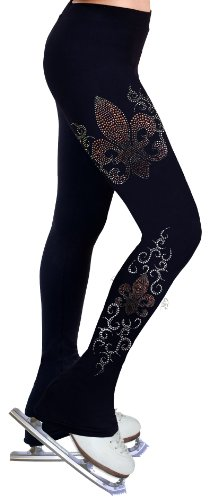 Ice Figure Skating Dress Practice Pants with Rhinestones R35 - Adult Extra Small