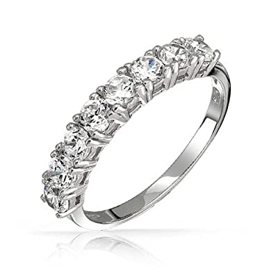 Bling Jewelry 925 Sterling Silver CZ Half Eternity Ring Wedding Band