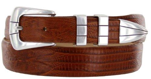 Vince Italian Calfskin Leather Designer Golf Dress Belt for Men (36, Lizard Tan)
