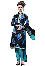 Craftliva Black Printed Cotton Dress Material