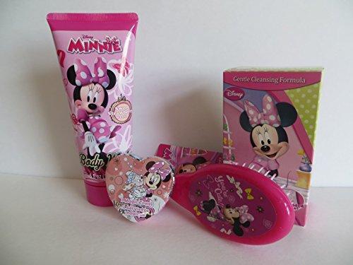 Disney Minnie Bathroom Set 4 Pieces - Body Wash +Magic Wash Cloth + Molded Soap + Minnie Hair Brush - Ages: 3 YRS +
