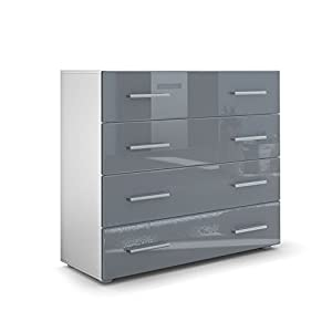 Grey chest of drawers bedroom chest of drawers cabinet - Commode laquee grise ...
