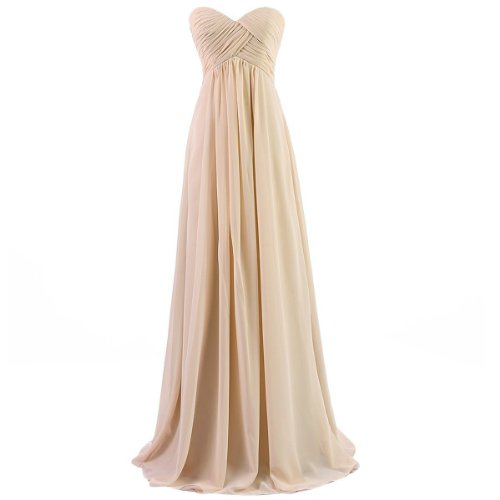 Dresstells Sweetheart Bridesmaid Chiffon Prom Dresses Long Evening Gowns for Juniors Size 2 Champagne