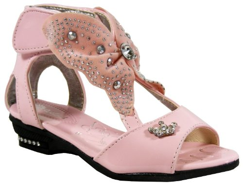 NEW Young Girls Pink Diamante Butterfly Gladiator Sandals Summer Size 8.5 9 10