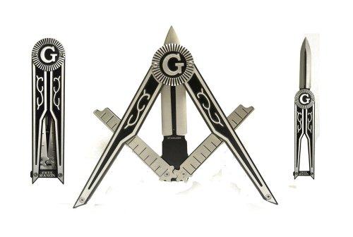 Generic Masonic Folding Pocket Knife - Square & Compass Shape Unique Freemason