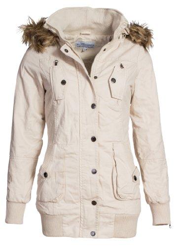Damen Jacken: Violet Fashion Design Damen Winterjacke, beige, S