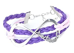 Purple and Pink Leather and Silver-Plated One Direction Infinity Bracelet, 1D Bracelet, 1D Wristband, 1D Wrist Band by Hinky Imports
