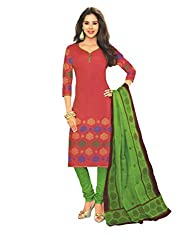 M.S. Boutique - Unstitched Cotton Dress Material - Red - (MS-SBT-208)