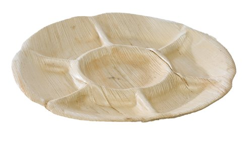 Packnwood 210Bba307C Palm Leaf Seven-Compartment Plate, 11.8-Inch Diameter X 0.8-Inch High (Case Of 100)