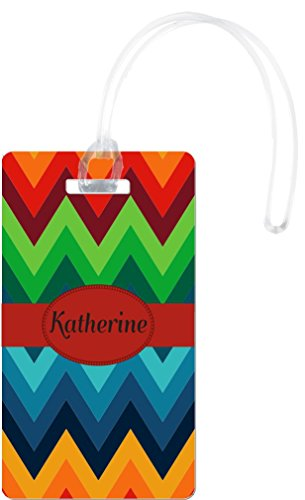 Rikki KnightTM Katherine Name on Fall Colors Chunky Chevron Design Flexi Luggage Tags - Premium Quality Plastic ID Card Tags - Great for Travel (Set of 2)