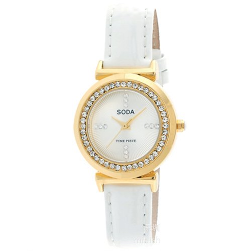 Ufingo-Leather Band Stylish Able Nice Wristwatch For Ladies/Women/Girls-White Strap Gold Rhinestone Dial
