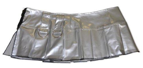 Sexy Falten Minirock glänzend in Farbe schwarz oder silber mit Zierelementen; in Größen 34, 36 & 38; se7041