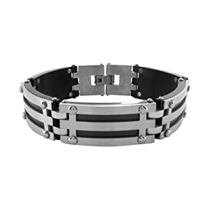 Inox Jewelry Manhattan Collection Silver and Black IP Treated Steel Grill Bracelet for Men available at Amazon for Rs.4320