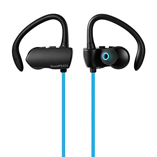 SoundPEATS(サウンドピーツ) ワイヤレスイヤホン Bluetooth 4.1 高音質 apt-Xコーデック採用 Bluetoothイヤホン 防水防滴 スポーツ仕様 耳かけイヤーフック型 ワイヤレス ヘッドホン 音量調整 曲送り戻し可能 改良版Q9A (ブルー)