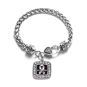 Diabetes Awareness Classic Silver Plated Square Crystal Charm Bracelet