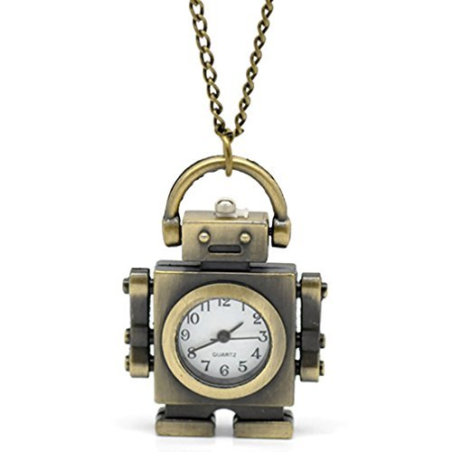 Souarts Antique Bronze Color Robot Shape Quartz Pocket Watch (Robot Watch Vintage compare prices)
