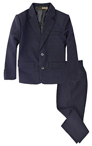 G218 Boys 2 Piece Suit Set Toddler to Teen (Large/12-18 Months, Navy Blue) (Toddler Blue Tuxedo)