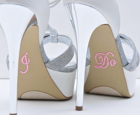 "Crystal Rhinestone ""I Do"" Wedding Shoe Stickers - Pink - 1"
