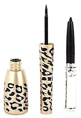 Shot-in Leopard Bottle of 2 in 1 Black Waterproof Liquid Eyeliner and Pen