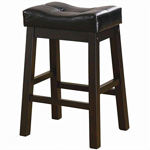 Coaster Home Furnishings Transitional Bar Stool, 24-Inch, Dark Cherry/Black, Set of 2