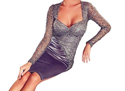 TomYork Elegant Velvet Lace Long Sleeve Midi Dress(Size,M)