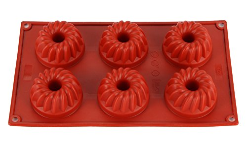 6-Cavity Flowers Silicone Non-Stick Bread Cake Mold Baking Roasting Mould And Baking Pan (Red)