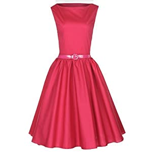 Lindy Bop Classy Vintage Audrey Hepburn Style 1950's Rockabilly Swing Evening Dress (2XL, Raspberry Pink)